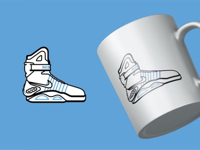 Nike Air Mag sneakers shoes retro nike kicks air mag 80s design illustration vector time pepsi mcfly marty icons hoverboards future evolution delorean back to the future