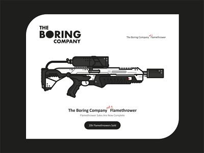 The Boring Company sale kikstarter market weapon future steel scifi dots company tesla gun outline vector illustration flat design ui ux the boring company flamethrower elon musk
