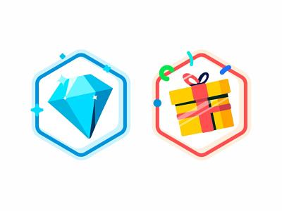 Diamond and Gift glow presentshine gift diamond outline minimal medal logo ios icon set fitness badges application apple app achievement icon achievement 3d 2d