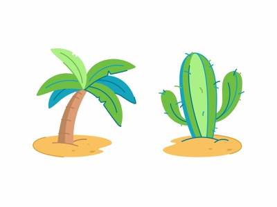 Palm and Cactus nature arizona mexican brush green outline flat plant cactus vector tropical draw cute palm tree doodle tree palm illustration beach