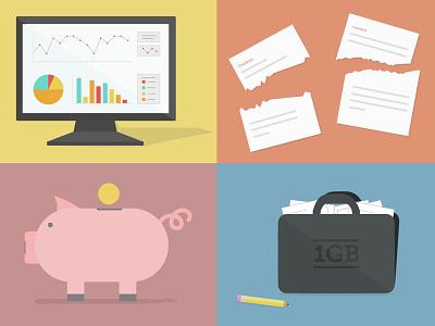 Illustrations for a membership page illustrations guru pig bank portfolio stats contract membership