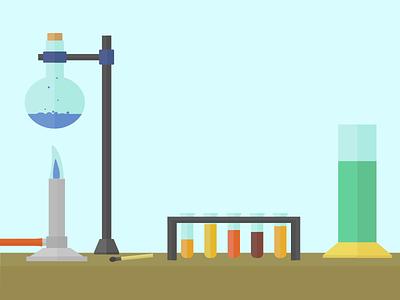 Science Experiment  illustration cover art science bunsen burner test tube experiment