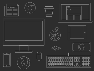 Minimalistic Dev Icons icons minimalistic computer keyboard coffee tablet browsers