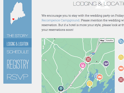Wedding Website wedding website wedding invitation icons maine map responsive web design responsive map