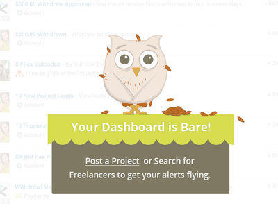 Guru Empty Dashboard Alert owl web design dashboard illustration guru bird