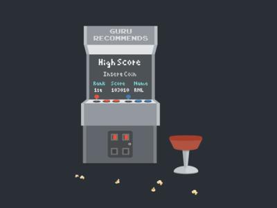 Arcade Guru Recommends arcade game guru high score video game illustration