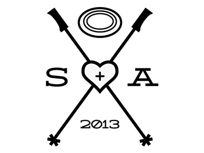 Wedding Logo skiing poles wedding frisbee ski heart wedding logo 2013