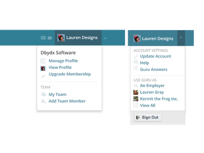 Guru Dropdown navigation guru.com dropdown web design