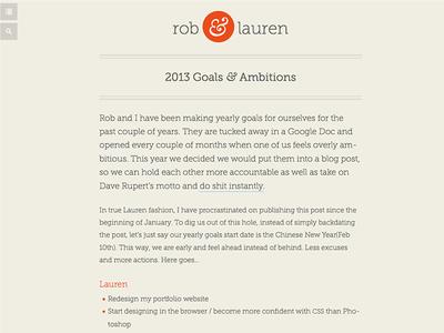 Rob & Lauren Responsive Blog layout web design responsive design personal site icons