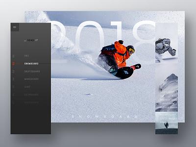 Send it Magazine editorial sport snowboarding web visual layout collage minimal ui photoshop design