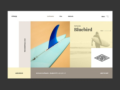 BYRON Surf Co ux ui pack interface store desktop layout design surf