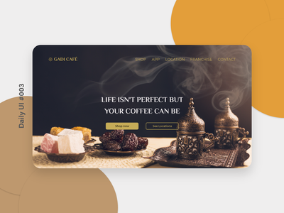 DailyUI #003 -  Landing Page coffeeshop coffee coffeedesign @dailyui ecommerce design ux ui adobexd design inspiration