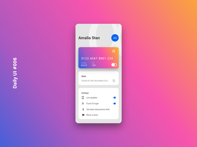 Daily UI #006 - User Profile credit card creditcardapp profile card userinterface app design design inspiration app ux ui adobexd appdesign profile user profile