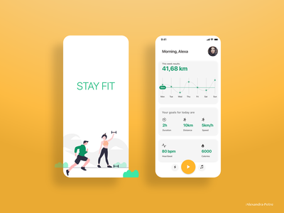 STAY FIT - Jogging Tracker App jogging tracker jogging uxdesign tracker app tracker health app logo app ux ui fitness center fitness club fitness app adobexd design inspiration appdesign design healty fit fitness