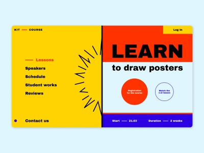 Drawing posters online lessons reviews schedule drawing ui 2021 registration education courses first screen ux figma posters