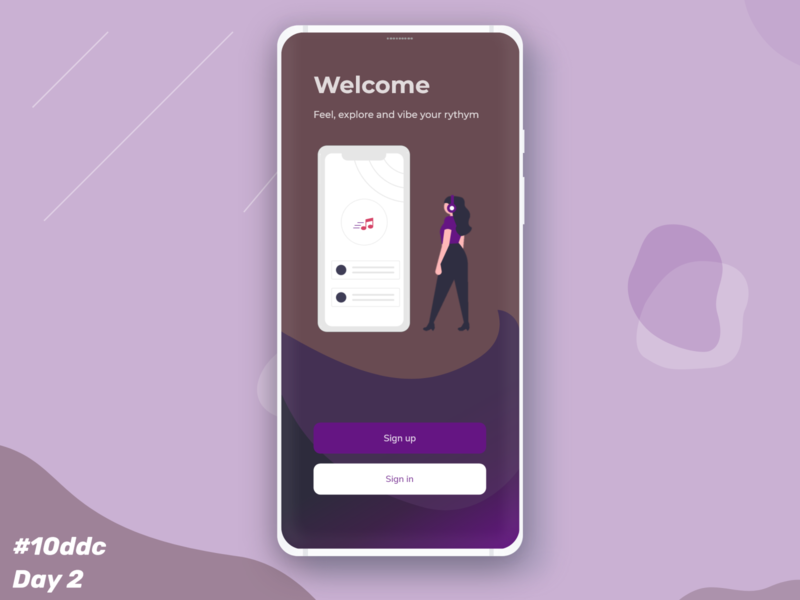 Welcome screen for Music app dailyui design app uidesignchallenge designchallenge userexperience welcome screen userinterface uidesignpatterns appdesigner 10ddc ui graphic app design ux music app music ui  ux uiux ui design