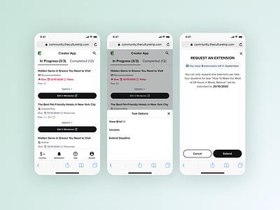 The Creator App web mobile wordpress platform payment management work writing economy gig view tasks dashboard responsive culture trip
