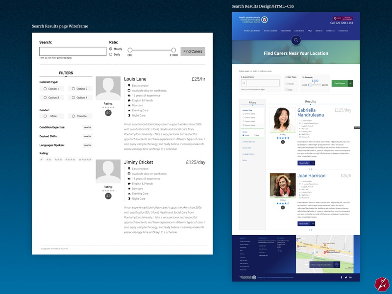 Search Results and Profile Wireframes & Designs/HTML+CSS wireframes and designs wireframes healthcare health
