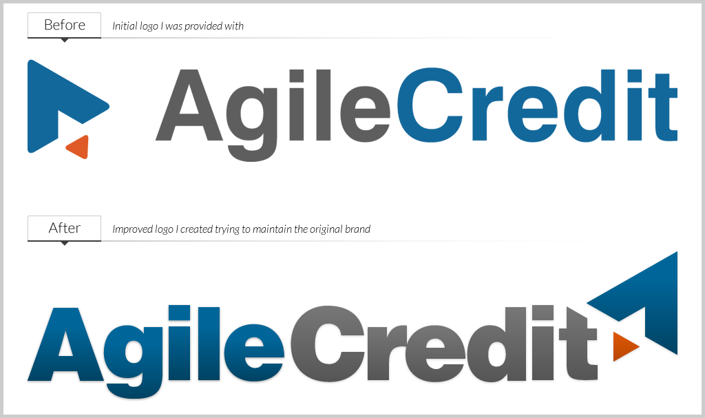 Agile credit logo   before and after