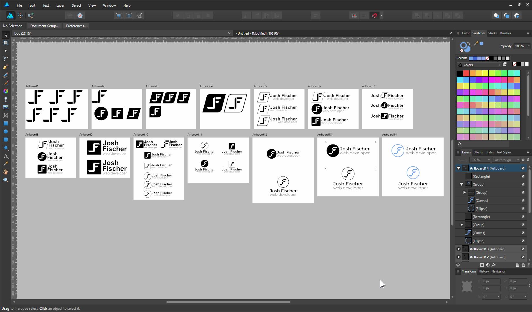 Logo design progress in affinity designer