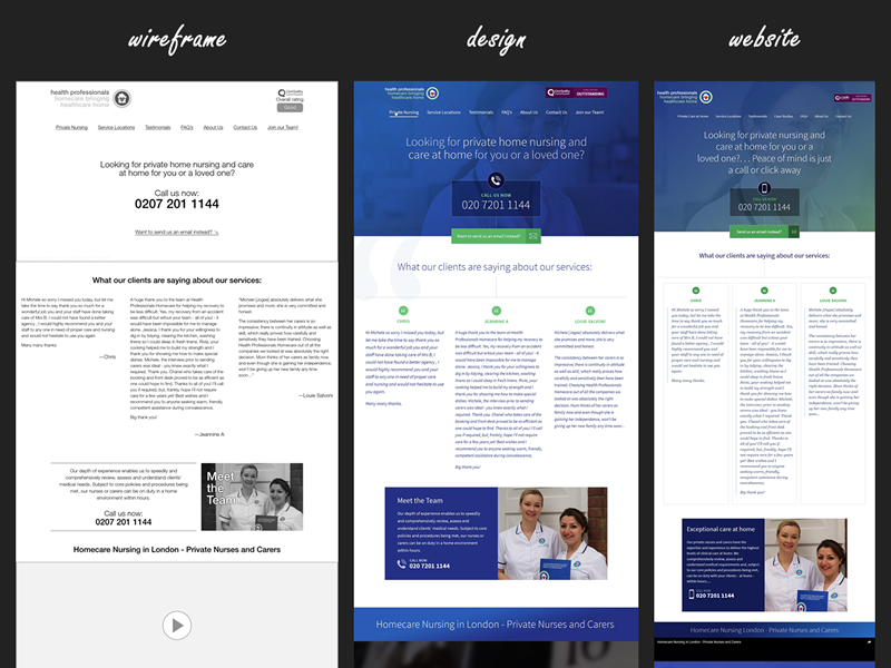 Wireframes   designs for health professionals uk