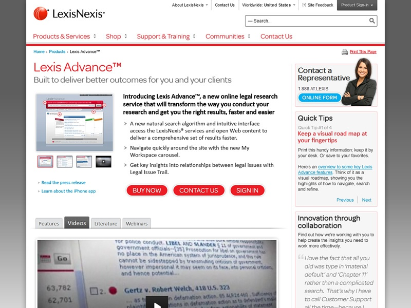 Lexis advance product page design   2012