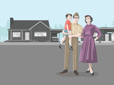 Mid century 50s house illustration people