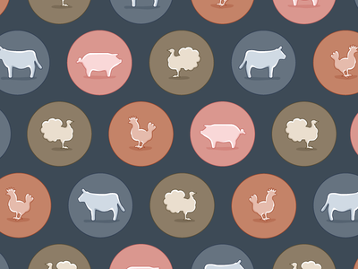 Farm critters icon illustration pig cow chicken turkey