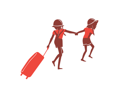 Traveling twins! people illustration