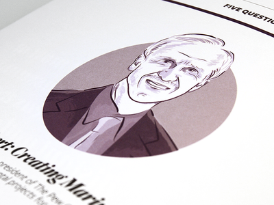 Magazine illustration - headshot man portrait illustration