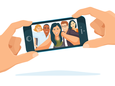 Selfie Phone View people millennials selfie illustration