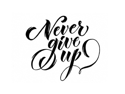 Never Give Up typography typo type sigrlynnart logo lettering letter handtype handlettering design calligraphy brushpen