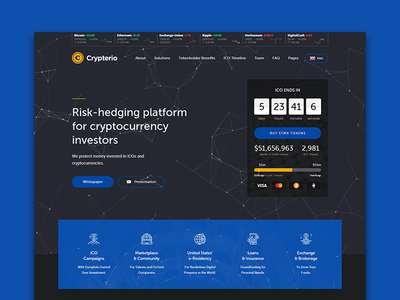 Crypterio ico landing page and cryptocurrency wordpress theme
