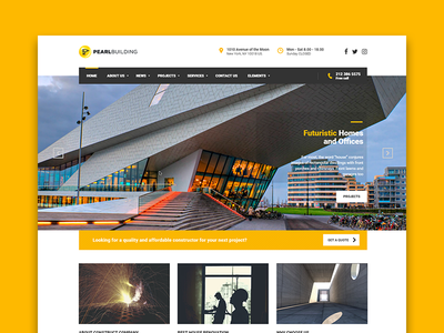 Pearl for construction companies, architects and designers themeforest wp wordpress theme template designer architect construction pearl