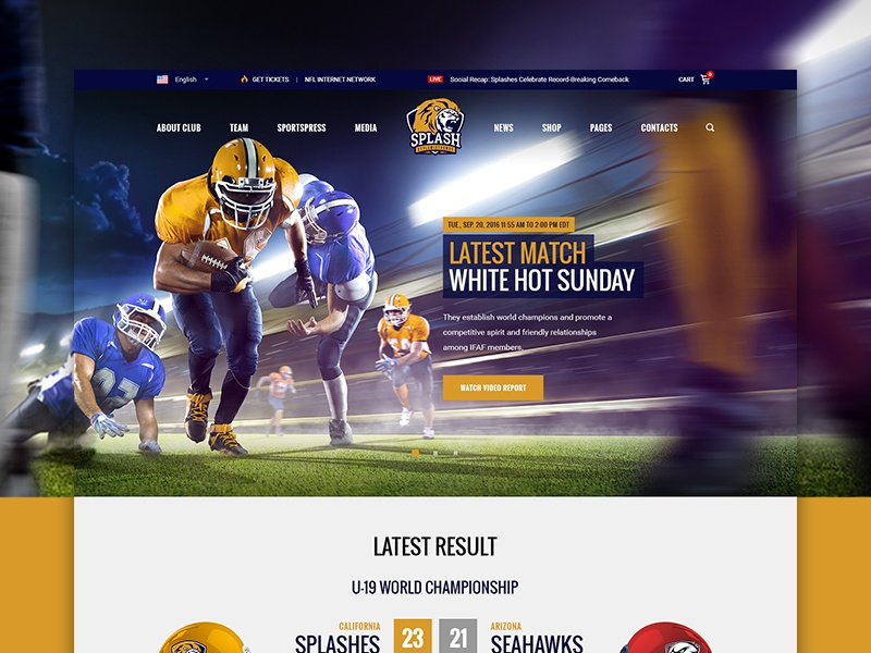Splash Football WordPress sport theme by Stylemix - Dribbble