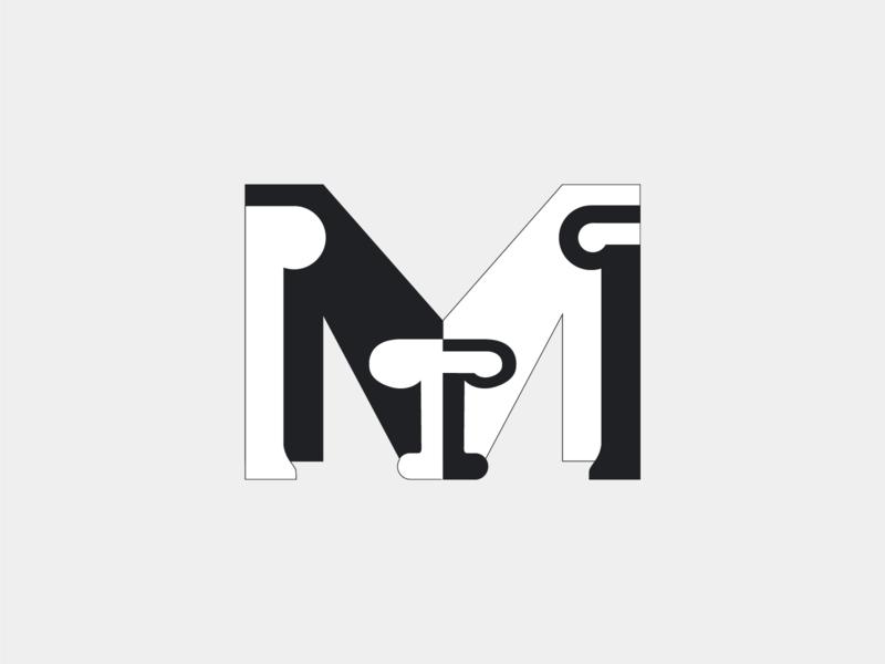 M white black creative font lettering minimal web vector design illustration