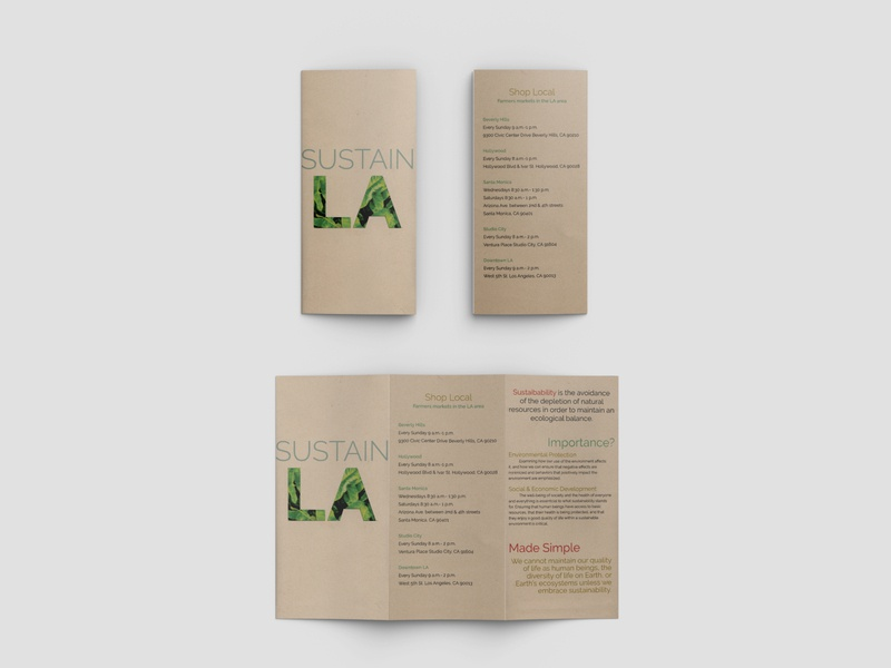 Sustain LA design recycled paper sustainability print brochure mockup brochure design