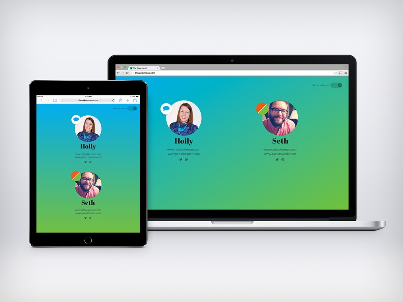 The Akkermans! calling card about profile web digital design process website