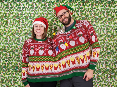 Akkerman Family Holiday Card christmas card xmas christmas patterns catsofdribbble photography print website pizza cat holiday