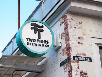Two Tides Brewing Co. Sign savannah beer brewery sign logo branding