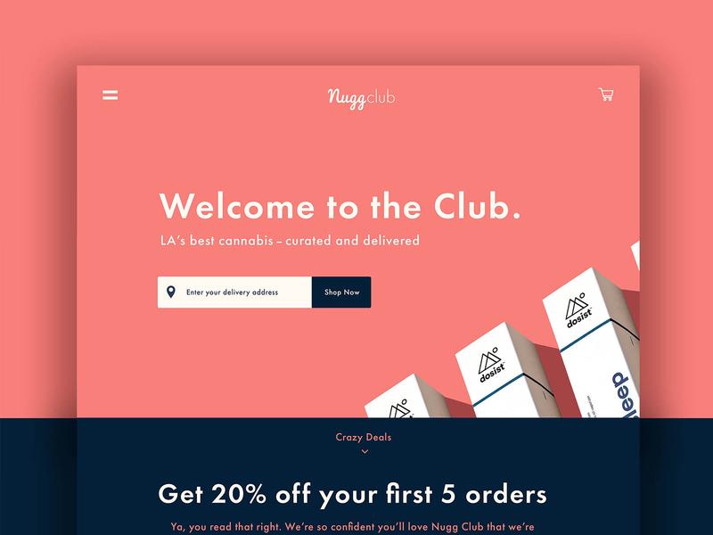 Nugg Club Minimal Home Page Design uiux cannabis design design branding brand design creative direction