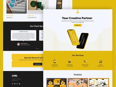 Aigel Studio Creative Agency Landing Page minimalist simple yellow black advertisement logo design branding landing page ui