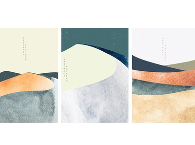 Abstract landscape background with Japanese wave pattern vector. texture scenery poster template watercolor painting landscape curve mountain wave modern asian chinese background vector abstract pattern japanese banner illustration