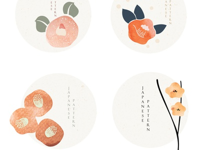 Set of flower icons in Japanese style with grunge texture vector texture watercolor painting symbol floral pattern icon flower wave modern asian chinese background vector abstract pattern japanese banner illustration