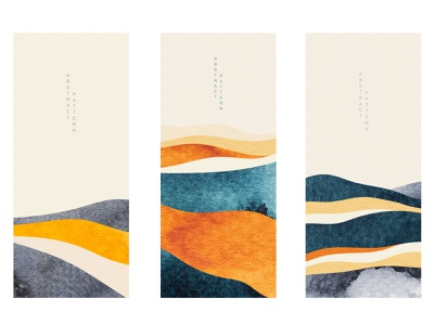 Abstract landscape background with Japanese wave pattern vector. curve wavy texture watercolor forest mountain modern asian chinese background vector abstract pattern japanese banner illustration