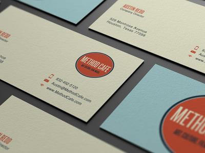 Method Cafe  blue orange branding business card geometric circl retro simple print design muted colors