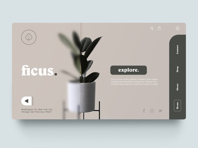Ficus - Plant shop design plantasia nature plants plant website web design ux ui green web