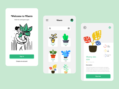 Mobile App - Plants ux design ui design mobile app app typhography smooth plant illustration illustration clean ui app design plant app trendy design soft design plants