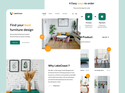 Landing Page - LakeCoast clean ui trendy design colorfull smooth soft design simple workspace landing page minimalist ui design ux design website branding product interior product design furniture website furniture shop furniture design furniture
