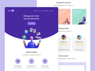 Landing Page - Online Course Neverland smooth typhography trendy design soft design homepage study ux design ui design course class learning platform learning class learning app character design website minimal clean ui colorfull illustration landing page